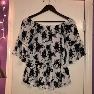 Black and White Flowery Off Shoulder Top